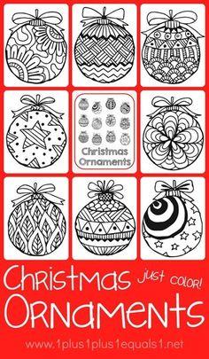 Christmas Ornaments Coloring Printables {free}