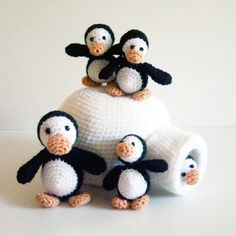 Crocheted Penguin Family