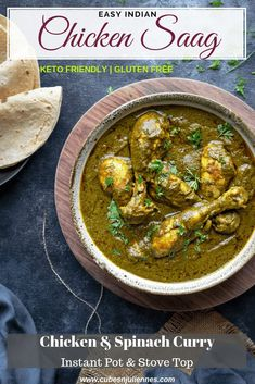 indian food Chicken Saag or Palak Chicken is a classic semi thick Indian curry of chicken and pureed spinach that is cooked together along with spices. Intensely delicious, keto friendly and gluten free recipe ready under an hour. Chicken Spinach Curry, Spinach Stuffed Chicken, Roasted Chicken, Spinach Recipes, Milk Recipes, Kitchen Recipes, Bacon Recipes, Gluten Free Indian Food, Amigurumi