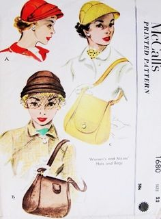1950s Hats and Bags Pattern McCALLS 1680 Flirty Hat Fascinator Classic Shoulder Purse Vintage Sewing Pattern
