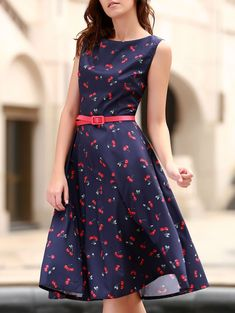 Vintage Women s Jewel Neck Sleeveless Cherry Print Flare Dress - PURPLISH  BLUE XS Vintage Dresses Online 300bb154720