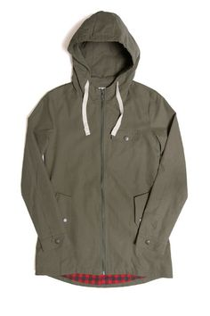 Water-resistant hooded jacket in a peached cotton-nylon blend with snap-closure hand pockets. 60% nylon, 40% cotton.
