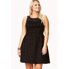 Forever 21 Plus Size Black Paisley Velvet Mesh Dress Fit