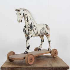 Antique 19thc Horse Toy on Wheels with Wood Base - Decorative Collective Antiques Online, Selling Antiques, Wooden Horse, French Antiques, Stoneware, Giraffe, Wheels, Carving, Base