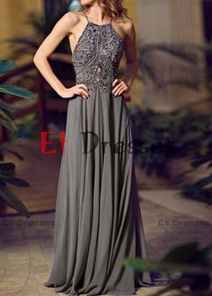 Spaghetti straps backless floor-length chiffon with sequins prom dress.evening dress