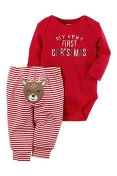 My Very  First Christmas Bodysuit and Reindeer Striped Pants - cute outfit for baby boy or girl #affiliate