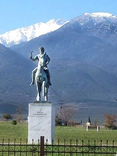 Statue of Alexander the Great GREEK at Mt Olympus , home of the Greek Gods in the background, Litochoro, Pieria Macedonia Greece. In Ancient Times, Ancient Art, Alexander The Great Statue, Alexandre Le Grand, Macedonia Greece, Hellenistic Period, Babylon The Great, Great Warriors, Greece Travel