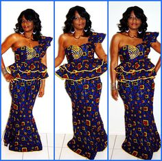 Blue And yellow  Ankara One Shoulder Formal by ZabbaDesigns, $110.00