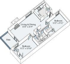 Memphis-TN Greenbrook Apartments Floor Plan: 1200 sq ft, 2 bed / 2 bath, $815
