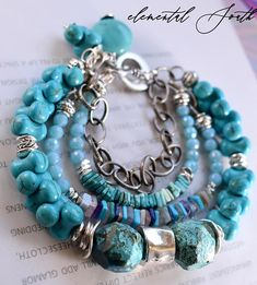 bracelet turquoise bracelet lapis bracelet multi strand