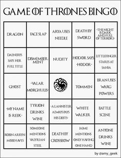 Game of Thrones | Community Post: 19 Awesome Bingo Cards To Play While Watching Your Favorite TV Shows