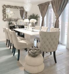 outstanding dining room table decor ideas 7 < Home Design Ideas Decor Home Living Room, Dining Room Table Decor, Elegant Dining Room, Luxury Dining Room, Dining Room Design, Purple Dining Chairs, Formal Dinning Room, Dining Room Sets, Dining Room Furniture