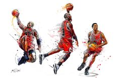 My collaboration with the brand ENTERBAY and the NBA . Three paintings of the famous Michael Jordan, Scottie Pippen and Dennis Rodman.Basketballs of the Chicago Bulls in the 90's.These artworks are created for the packaging of three sculptures.My pain…