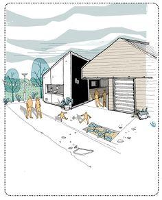 Sketchbook Architecture, Art Et Architecture, Architecture Details, Site Analysis Architecture, Rendering Drawing, Landscape Sketch, Archi Design, Concept Diagram, Illustration