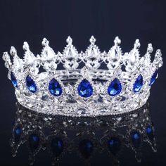 Bridal CZ Teardrop Full Crown Crystal Silver Plated Tiaras Headbands Bridal Hot