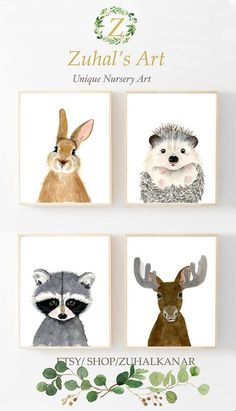 Woodland nursery set Set of 4 Prints Animal Paintingsmoose