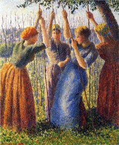 Peasant Women Planting Stakes - Camille Pissarro Completion Date: 1891 Style: Impressionism Genre: genre painting Technique: oil Material: canvas Dimensions: 55 x 46 cm Gallery: Private Collection