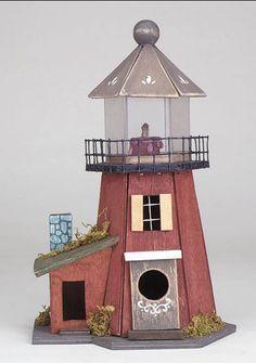 Lighthouse for birds :) Decorative Bird Houses, Bird Houses Painted, Bird Houses Diy, Fairy Houses, Dog Houses, Painted Birdhouses, Putz Houses, Bird House Plans, Bird House Kits