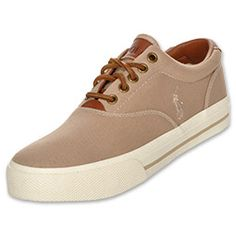 The Vaughn Casual Shoe from Polo Ralph Lauren features a canvas upper, leather heel and laces, and a vulcanized rubber outsole.