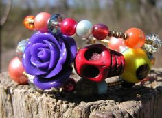 Day of the Dead Sugar Skull Bracelet 3 Loops Wrap Around Memory Wire Multi color #Wrap
