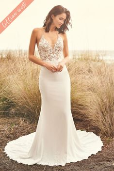 Fit and Flare Wedding Dress with Sheer Lace Top and Illusion Neckline by Lillian West, Model 66092 lillian Crepe Wedding Dress, Fit And Flare Wedding Dress, Stunning Wedding Dresses, Boho Wedding Dress, Dream Wedding Dresses, Beautiful Dresses, Lillian West, Sincerity Bridal, Haut Transparent