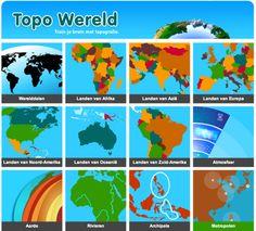 Fijne en duidelijke site om te oefenen met werelddelen en de topografie van continenten. Daarnaast biedt het ook aardrijkskundige oefeningen zoals atmosfeer en vulkanen.