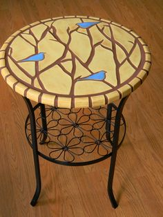 Handcut Tile Table with Blue Birds in Red by moonflowerartjewelry, $325.00 Sold, but making another!!