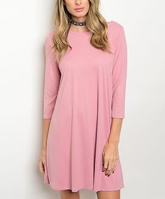 Another great find on #zulily! Dusty Blush Lace-Up Shift Dress #zulilyfinds