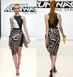 Project Runway All Stars Christopher Palu - sarong over leather dress; attaches with hook-and-eye closure