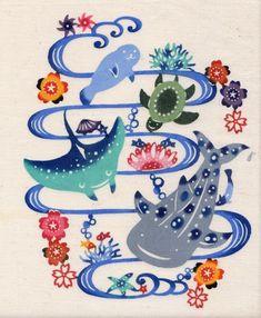 先週末の小学校紅型体験でも使った、子どもたち用の紅型の型 四種類、最近新しく作りました♪ 上のは、... Japanese Textiles, Japanese Patterns, Japanese Art, Okinawa Tattoo, Painted Ukulele, Sketchbook Inspiration, Tattoo Inspiration, Fabric Print Design, Whale Art
