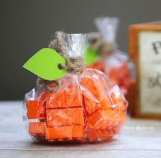 Non-Candy Halloween Snacks and Treats Ideas and Recipes - Lego Treat Bags via Repeat Crafter Me