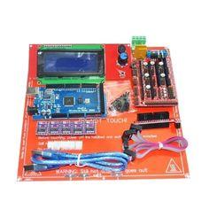 3D Printer Kit RAMPS 1.4+Arduino Mega 2560+DRV8825+2004 LCD+PCB Heat Bed MK2B