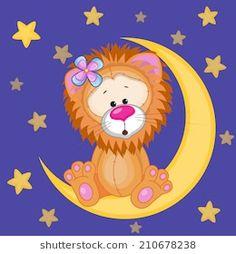Cute Lion on the moon stock vector. Illustration of small - 43478954 Moon Vector, Vector Art, Baby Bug, Cute Lion, Illustration, Portfolio, Cute Cartoon, Smiley, Painted Rocks