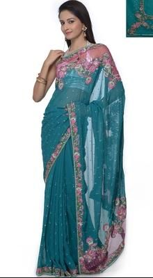 Adorable Tal Blue Embroidered Saree