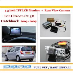 """Auto Rear View Camera Back Up + 4.3"""" LCD Monitor = 2 in 1 Parking Assistance System - For Citroen C2 3D Hatchback 2003~2009"""