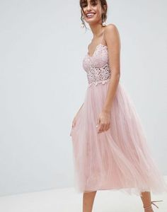 Buy ASOS DESIGN Premium Lace Cami Top Tulle Midi Dress at ASOS. Get the latest trends with ASOS now. Pleated Midi Dress, Lace Dress, Evening Dresses, Prom Dresses, Formal Dresses, Cocktail Bridesmaid Dresses, Robes Midi, Different Dresses, Mi Long