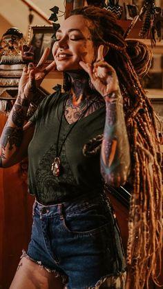 ☾☼MistressBarbie☼☽ Sexy Tattoos, Body Art Tattoos, Girl Tattoos, Beautiful Dreadlocks, Dreads Girl, Dreadlock Hairstyles, Girl Body, Fantasy Girl, Dark Beauty