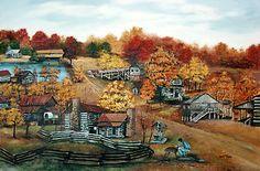Hart Square original Folk Art oil painting log cabins Deer ~ Arie Reinhardt Taylor