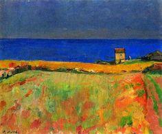 "Paul Basilius #Barth ""House at the Sea -#Brittany""1948 #art #iloveart #painting #artwit #twitart #artweet #casa #mare"