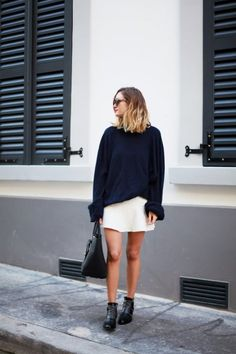 Match your shoes with your sweater and pair with a short skirt. Casual & Cool. | Nervous about your next date night? This is what you need to wear!