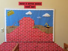 Build a Better World - Bulletin Board World Bulletin Board, Build A Better World, Teen Programs, Library Displays, Worlds Of Fun, Pride, Painting, Painting Art, Paintings