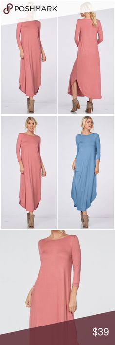 Mauve 3/4 Sleeve Maxi Dress 3/4 Sleeve Maxi Dress featuring a round neckline and hemline. 2 side slits for an added sexy touch. 95% Rayon 5% spandex. Fits true to size. Available in Denim blue also Fabfindz Dresses Maxi