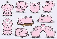 Premium Vector Clipart - Kawaii Pigs - Cute Pigs Clipart Set - High Quality V. Kawaii Drawings, Easy Drawings, Kawaii Pig, Illustrator, Pig Drawing, Cute Pigs, Vector Clipart, Cute Clipart, Doodle Art