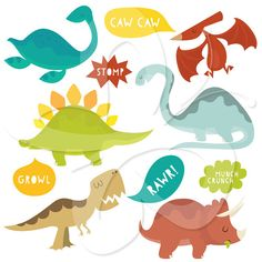 Cute Dinosaurs and Speech Bubbles Clip Art Clipart Set - Personal and Commercial Use on Etsy, $5.67 AUD