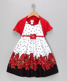Take a look at this Red Polka Dot Rose Dress & Shrug - Toddler & Girls by Jayne Copeland on #zulily today!