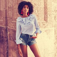 H&M Blouse with Ruffled Collar, High Waist Denim Shorts and Tassel Earrings