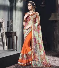 Orange & Aqua Green Color Half Brasso & Half Georgette Party Wear Sarees :  Purva Collection  YF-43030
