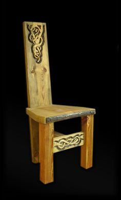 Viking chair with wood carving...