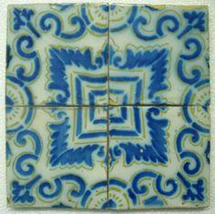 Antique French Pas de Calais - 4 Ceramic Tile Set - 1870