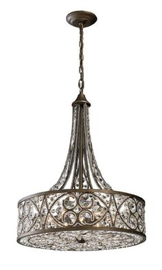 "Elk Lighting 11288/6 28.5"" Height Traditional / Classic 6 Light Pendant with a Drum Shade from the Amherst Collection - Build.com"